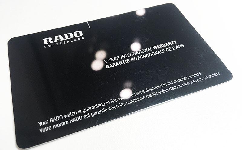 гарантийная карта Rado